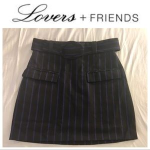 Lovers + Friends Skirts - Lovers + Friends Striped Belted Mini